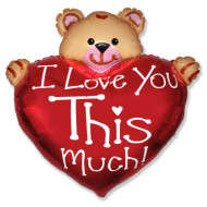 Фольгированный шар (38''/97 см) Фигура, Медвежонок с большим сердцем, 1 шт.